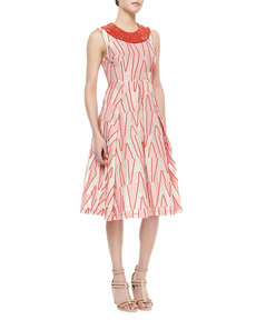 Tracy Reese Sleeveless Beaded Neck Dress, Scarlet/Ivory