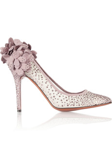 Bruno Magli Gelmer Swarovski crystal-embellished mesh and suede pumps