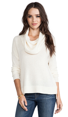 Joie Dimensional Chevron Knit Chesney Sweater in Cream