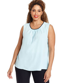 Jones New York Collection Plus Size Sleeveless Gathered Top