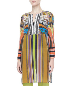 Paisley & Striped Caftan, Multicolor   Paisley & Striped Caftan, Multicolor