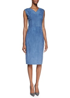 Jason Wu Suede V-Neck Sheath Dress, Blue