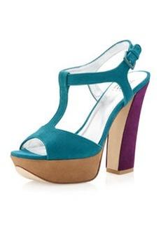 Pelle Moda Yvanka Colorblock T-Strap Sandal, Teal