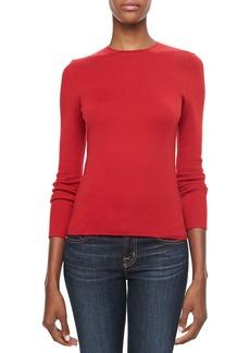 Michael Kors Long-Sleeve Cashmere Top, Crimson