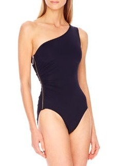 MICHAEL Michael Kors Tunisia Side-Zip One-Shoulder Maillot