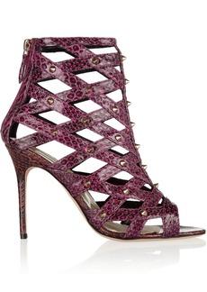 Brian Atwood Cori studded cutout elaphe sandals