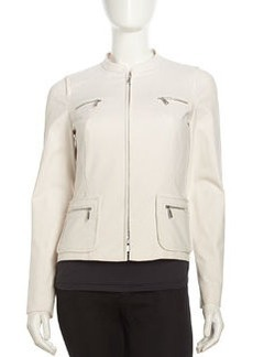 Lafayette 148 New York Stretch Knit Zip Long-Sleeve Jacket, Raffia