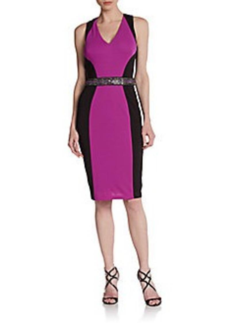 David Meister Sleeveless Colorblock Sheath Dress