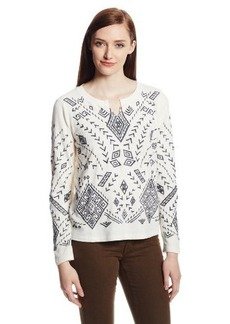 Lucky Brand Women's Aztec Embroidered Pullover Sweatshirt