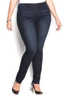 INC International Concepts Plus Size Slim Tech Fit Skinny Jeans, Dark Blue Wash
