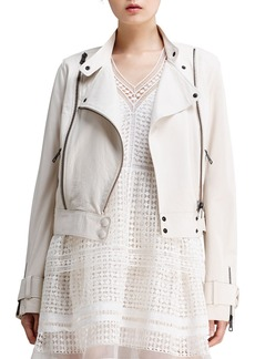 Chloe Lightweight Lambskin Leather Jacket, Off White