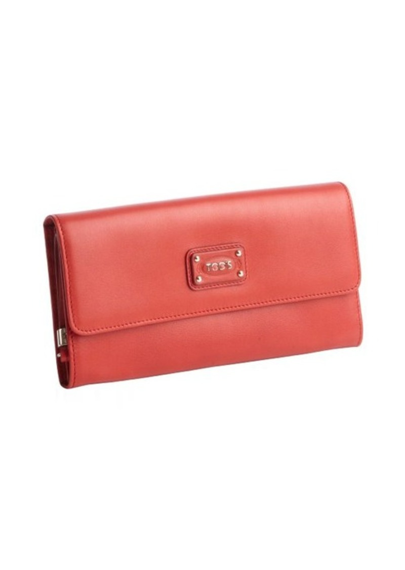 Tod's red calfskin multi-card continental wallet