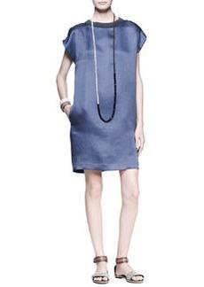 Brunello Cucinelli Cutout Duchesse Satin Shift Dress