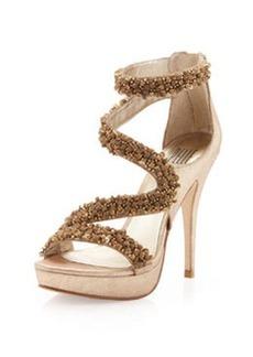 Pelle Moda Friskey Embellished Platform Sandal, Platinum Gold