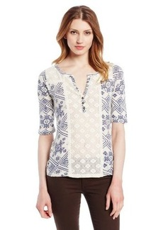 Lucky Brand Women's Campbell Lace Mixed Top