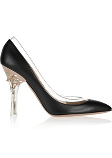 Valentino Embellished PVC-trimmed leather pumps