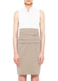 Akris punto Colorblock Cummerbund Dress, Cream/Sand