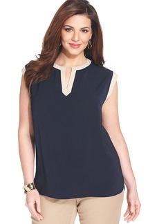 Jones New York Collection Plus Size Sleeveless Colorblocked Top