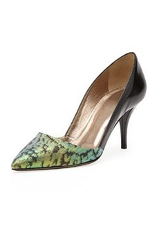 Lanvin Jacquard & Patent Mid-Heel Pump, Green