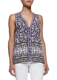 Floral-Print Sleeveless Top, Aubergine Combo   Floral-Print Sleeveless Top, Aubergine Combo