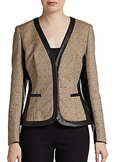 Lafayette 148 New York Shakira Faux-Leather Paneled Blazer