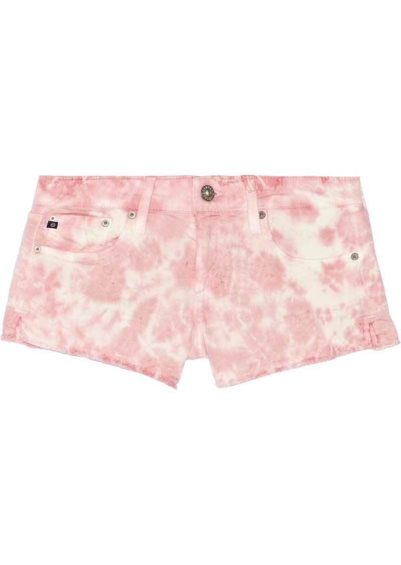 AG Jeans Daisy tie-dyed cut-off stretch-denim shorts