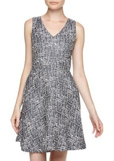 Joie Norton Two-Tone Fit-And-Flare Dress, Caviar