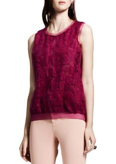 Lanvin Lace-Front Knit Top, Fuchsia