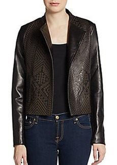 Twelfth Street by Cynthia Vincent Etched Leather Open-Front Jacket