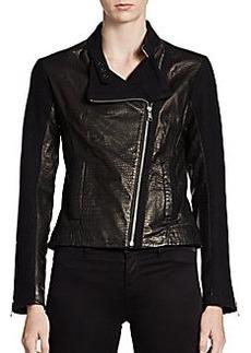 Andrew Marc Emmy Texture-Block Leather Moto Jacket