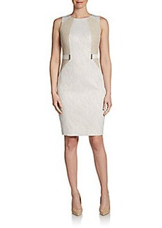 Calvin Klein Sleeveless Paneled Jacquard Sheath Dress