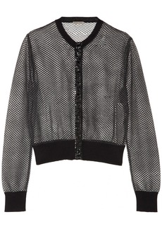 Bottega Veneta Glossed ayers-trimmed embroidered mesh cardigan