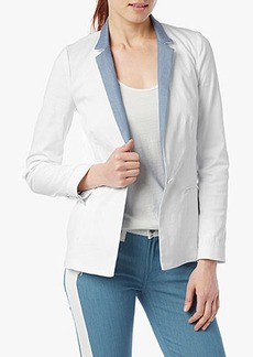 Contrast Blazer in White Twill