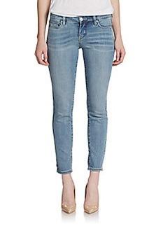 Saks Fifth Avenue GRAY Crochet-Leg Skinny Jeans