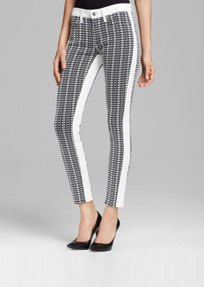 7 For All Mankind Jeans - Pieced Jacquard Skinny in White Stripe Geo