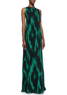 Michael Kors Ikat-Print Sleeveless Gown