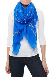 Marc Jacobs Floral Voile Fringe Scarf, Blue