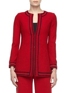 St. John Santana Knit Striped-Trim Hook Jacket, Deep Ruby/Onyx