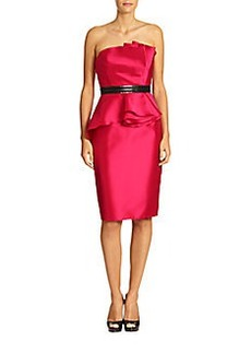 Carmen Marc Valvo Strapless Peplum Cocktail Dress