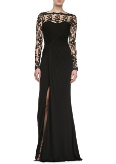 David Meister Long Sleeve Embroidered Bodice Gown