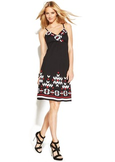 INC International Concepts Petite Embroidered Sleeveless A-Line Dress
