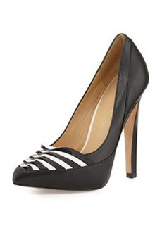 L.A.M.B. Narissa Pointy-Toe Stripe Pump, Black