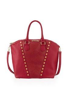 Betsey Johnson Rosette Stud V Trim Tote Bag, Berry
