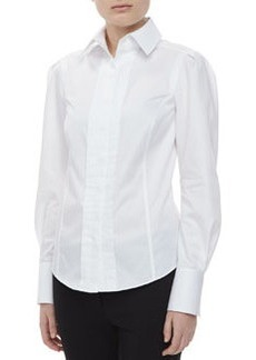 JASON WU Long Sleeve Pintuck Shirt, White