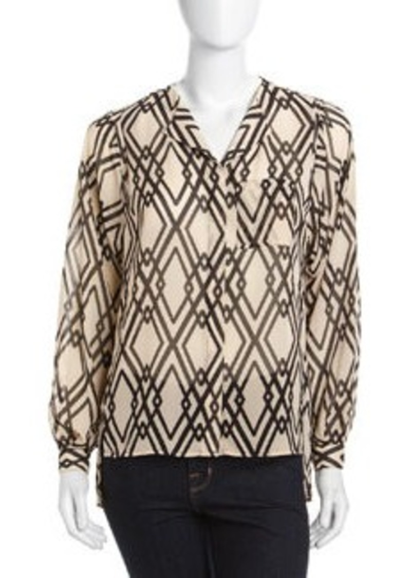 Isaac Mizrahi Long-Sleeve Pleated Top