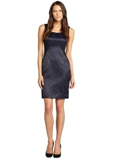Tahari black and brilliant blue jacquard 'Bernice' sleeveles dress
