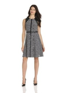 Calvin Klein Women's Dress with Faux Leather and Chain Detail