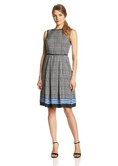 Jones New York Women's Sleeveless Pleated Boat Neck Dress