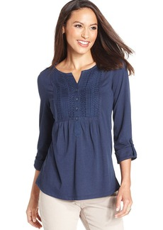Charter Club Petite Pintuck-Panel Top