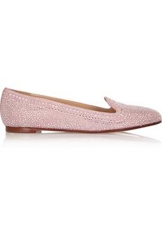 Valentino Crystal-embellished suede slippers